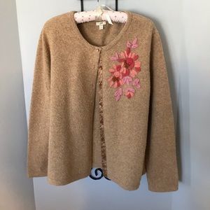 cardigan in a muted multi color that's so soft